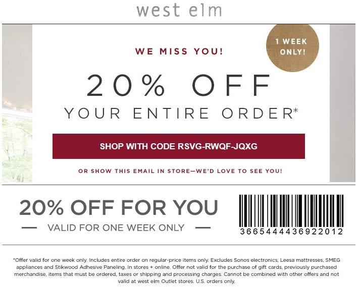 WestElm.com Promo Coupon 20% off at West Elm, or online via promo code RSVG-RWQF-JQXG