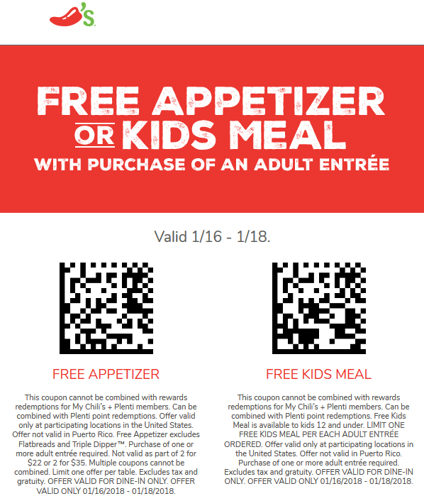 Chilis.com Promo Coupon Free appetizer or kids meal with your entree today at Chilis