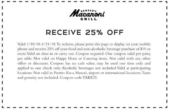 Macaroni Grill Coupon November 2018 25% off at Macaroni Grill restaurants