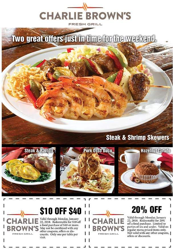 Charlie Browns Coupon August 2018 20% or $10 off $40 at Charlie Browns fresh grill