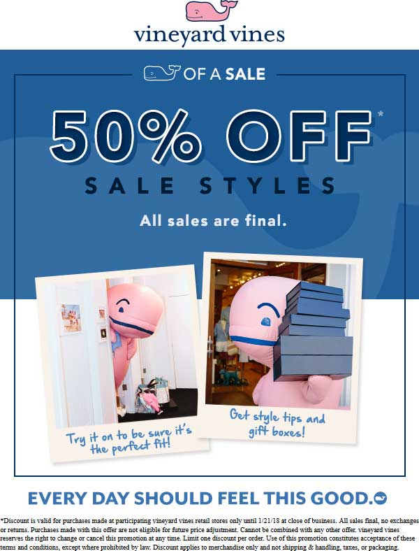VineyardVines.com Promo Coupon Extra 50% off sale items at Vineyard Vines
