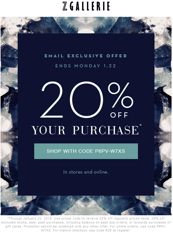 ZGallerie.com Promo Coupon 20% off at Z Gallerie, or online via promo code P6PV-W7XS