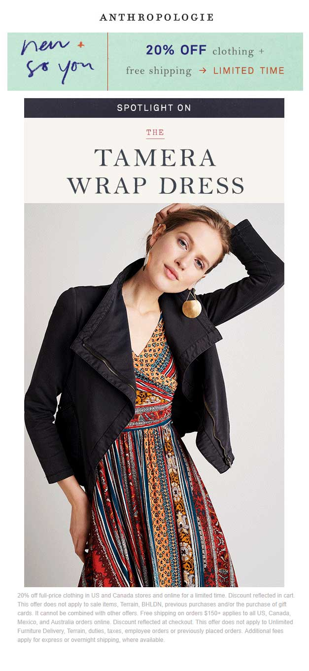 Anthropologie Coupon December 2018 20% off clothing at Anthropologie, ditto online