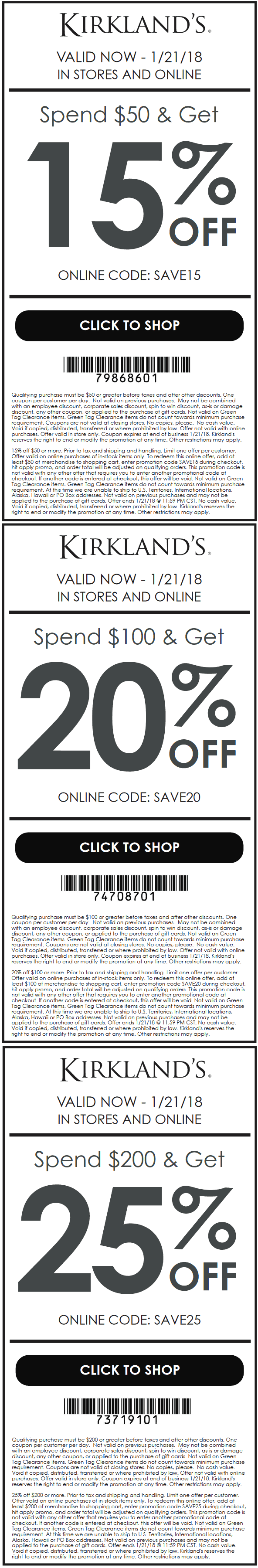 Kirklands Coupon February 2019 15-25% off $50+ at Kirklands, or online via promo code SAVE15