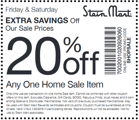 SteinMart.com Promo Coupon Extra 20% off a single home sale item today at Stein Mart, or online via promo code SHOPSALE