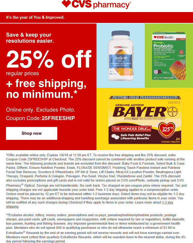 CVS Pharmacy Coupon March 2019 25% off online at CVS Pharmacy via promo code 25FREESHIP