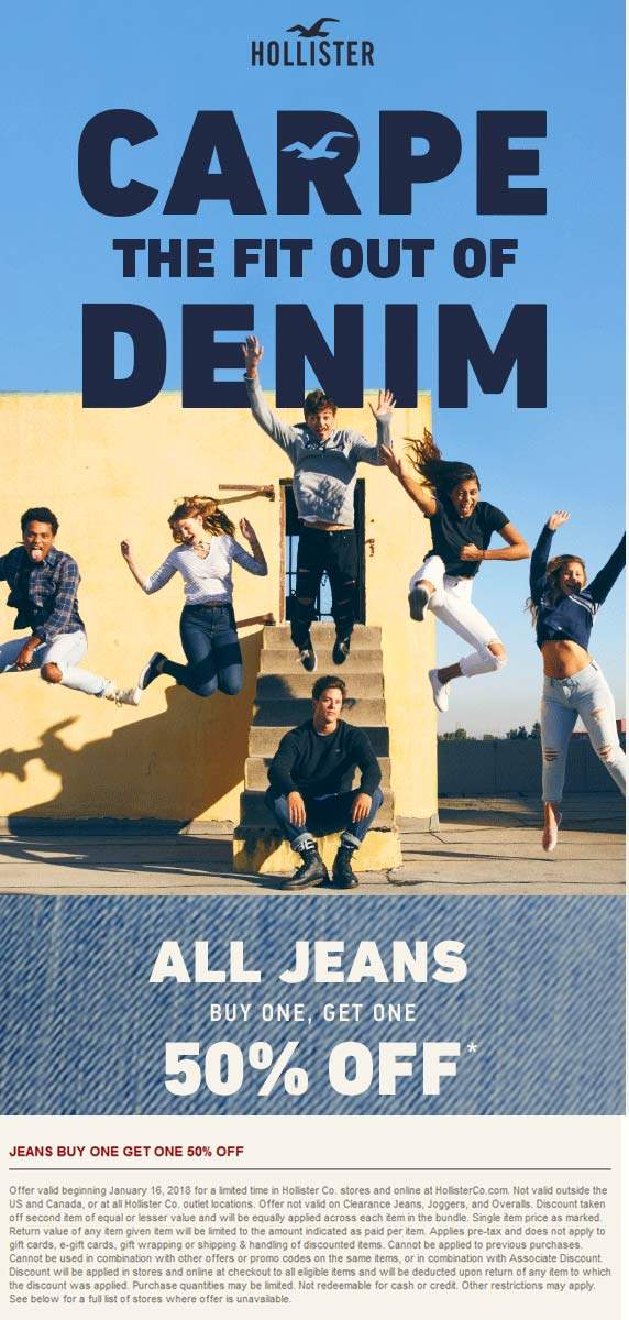 Hollister Coupon March 2019 Second pair of jeans 50% off at Hollister, ditto online
