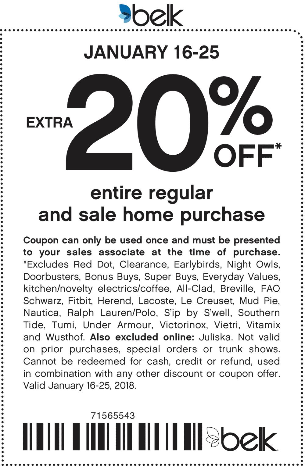 Belk Coupon February 2018 Extra 20% off home items at Belk