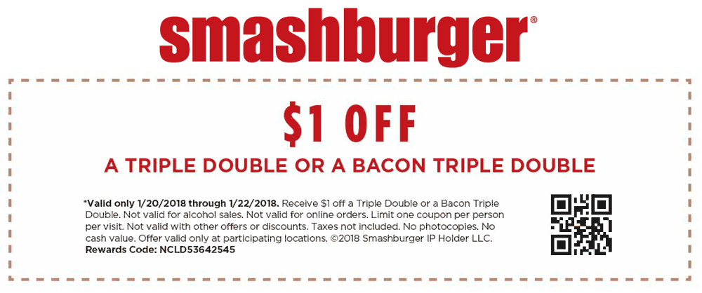 Smashburger Coupon March 2019 Shave a buck off your double burger today at Smashburger