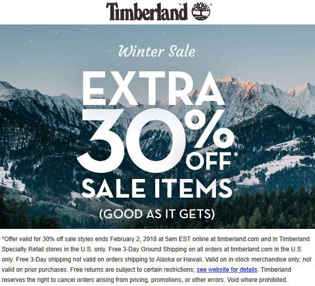 Timberland.com Promo Coupon Extra 30% off sale items at Timberland, ditto online