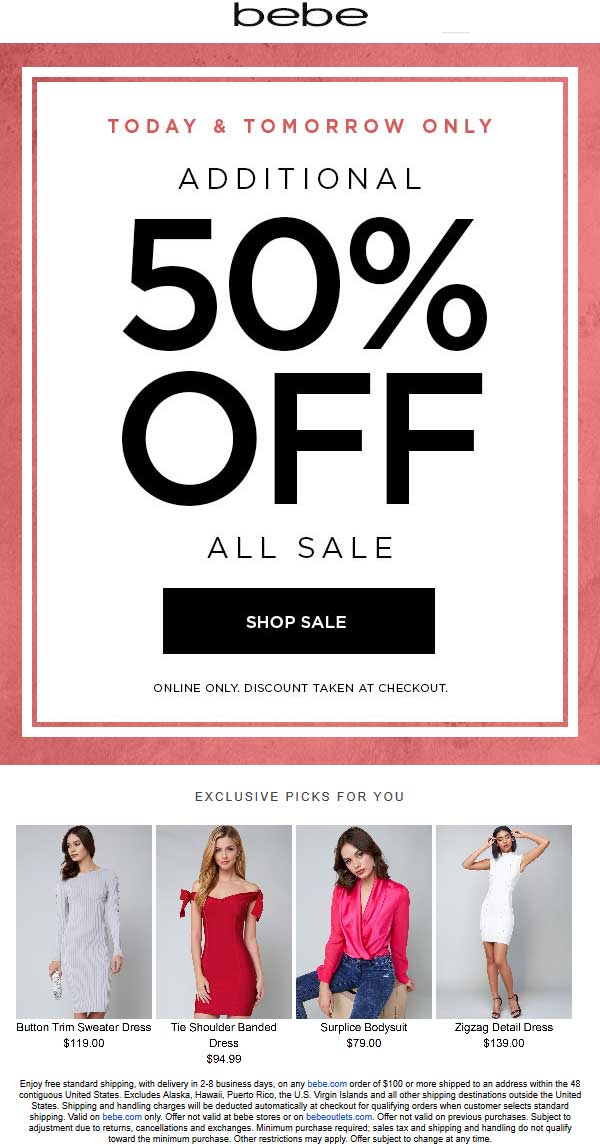 Bebe Coupon October 2018 Extra 50% off sale items online at Bebe