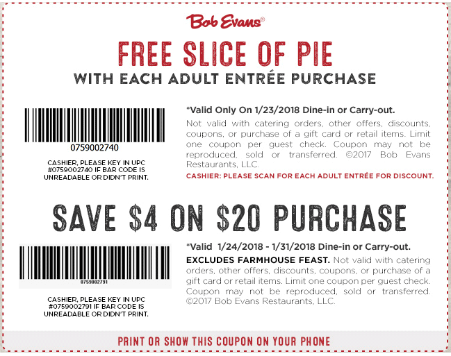 BobEvans.com Promo Coupon $4 off $20 at Bob Evans restaurants