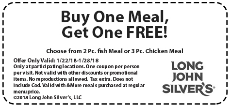 Long John Silvers Coupon February 2019 Second meal free at Long John Silvers