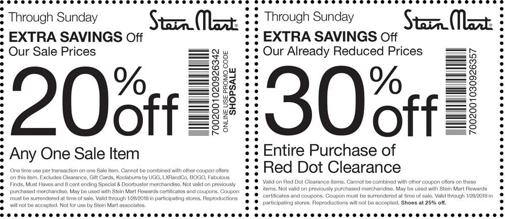 Stein Mart Coupon May 2018 20% off a single sale item & more at Stein Mart, or online via promo code SHOPSALE