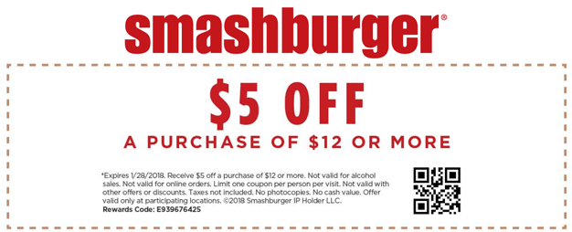 Smashburger Coupon December 2018 $5 off $12 at Smashburger restaurants
