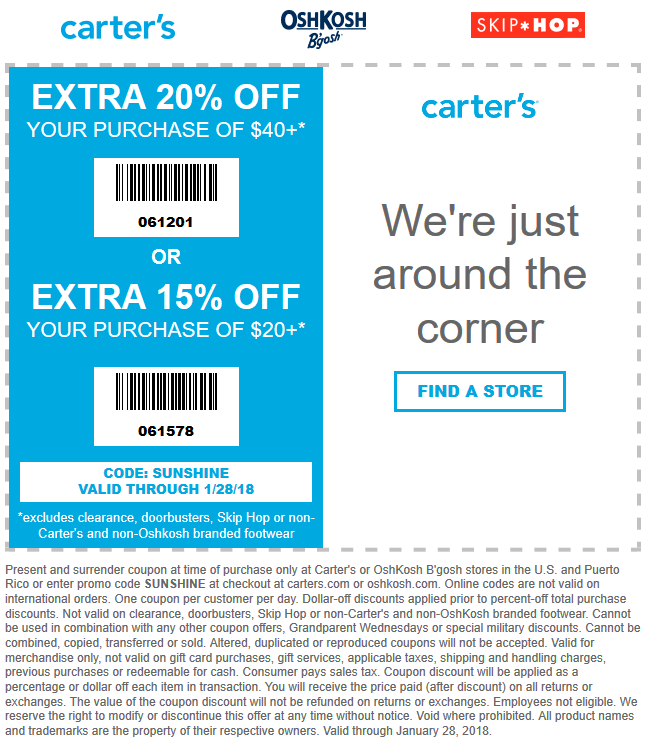 Carters Coupon December 2018 15-20% off $20+ at Carters, or online via promo code SUNSHINE