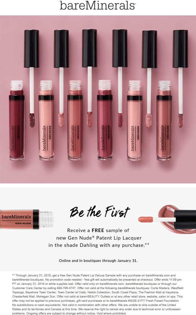 bareMinerals.com Promo Coupon Free patent lip lacquer with any purchase at bareMinerals, ditto online