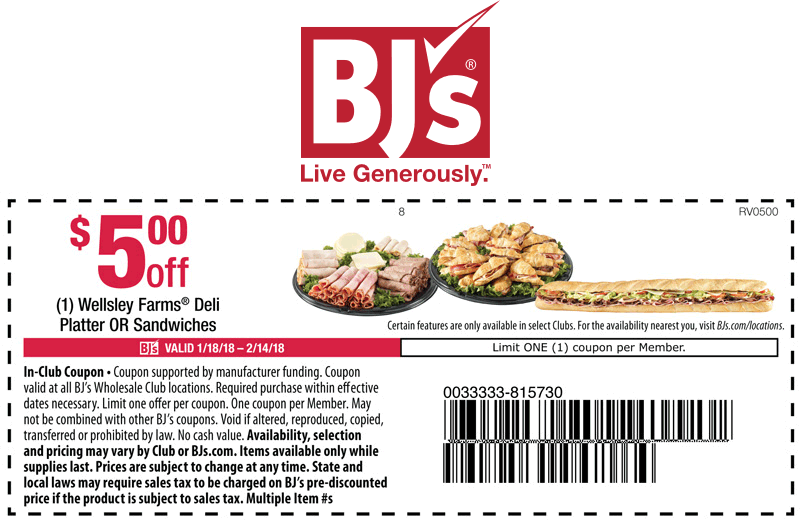 BJs Wholesale Coupon March 2019 $5 off a game day platter or sandwiches at BJs Wholesale Club