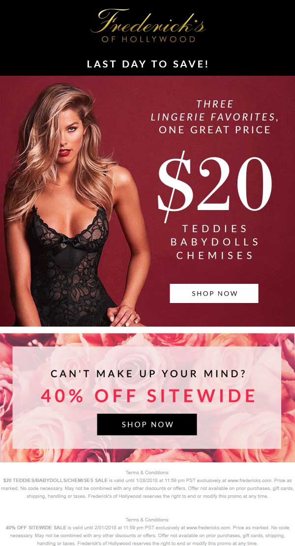 Fredericks of Hollywood Coupon October 2018 40% off everything online at Fredericks of Hollywood, no code needed