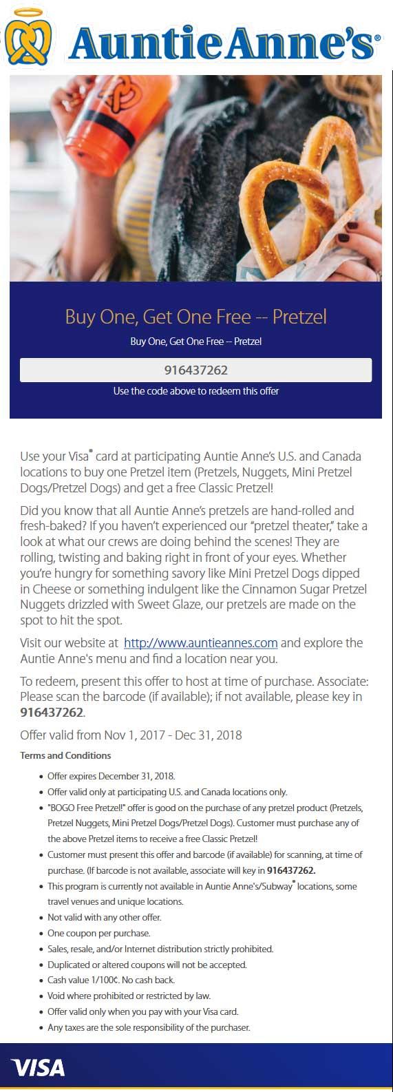Auntie Annes Coupon October 2018 Second pretzel free at Auntie Annes restaurants
