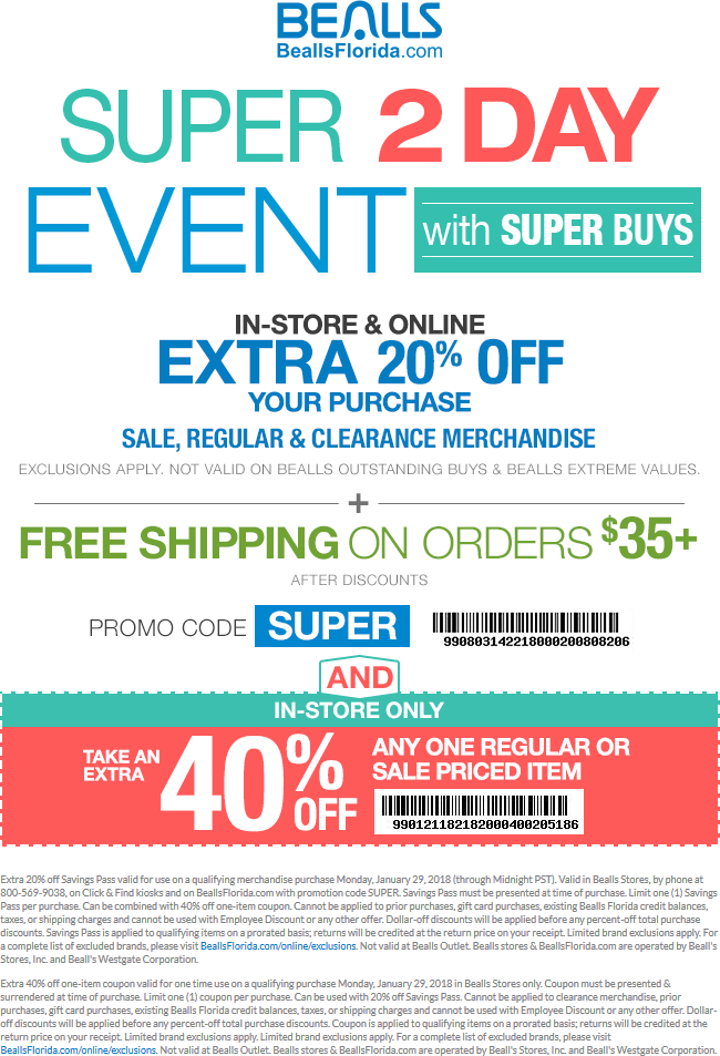 Bealls Coupon August 2018 Extra 20% off & more today at Bealls, or online via promo code SUPER