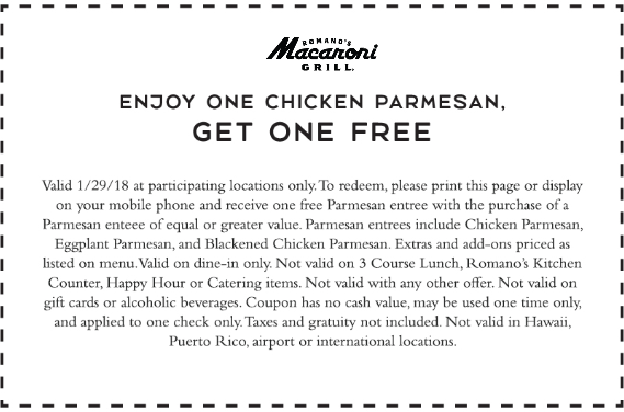 Macaroni Grill Coupon August 2018 Second chicken parmesan free today at Macaroni Grill restaurants