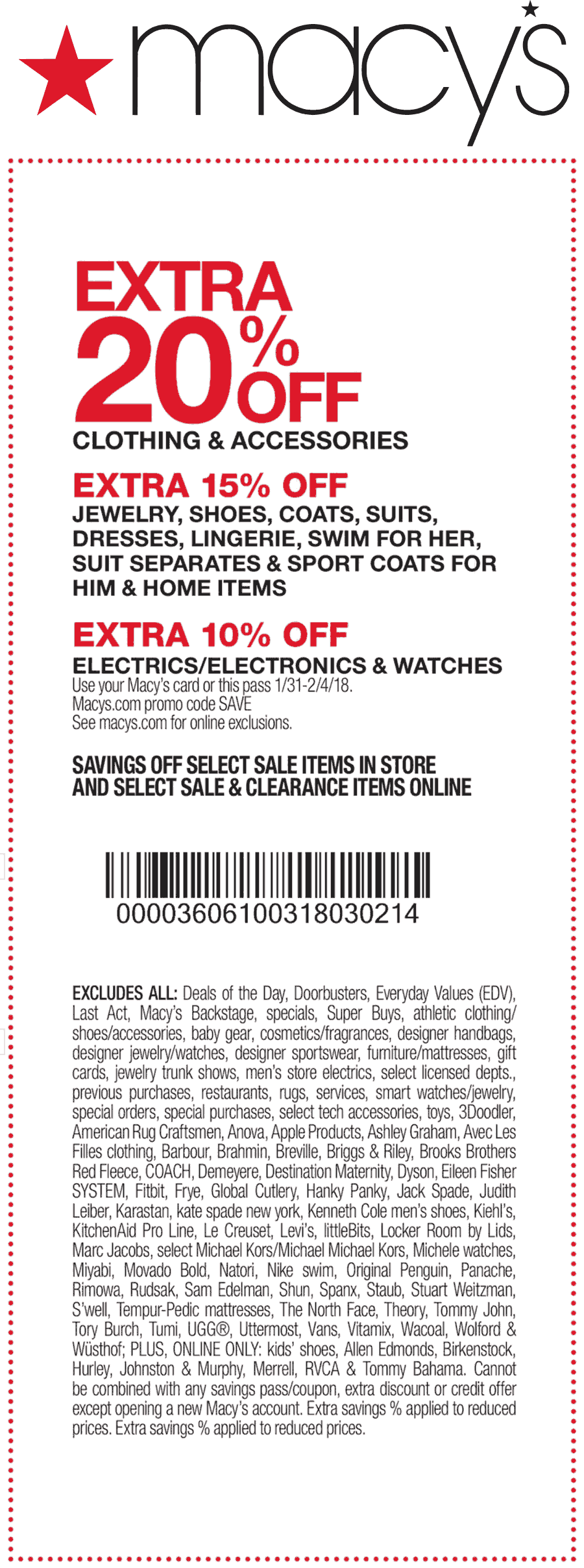 Macys Coupon August 2018 Extra 20% off at Macys, or online via promo code SAVE