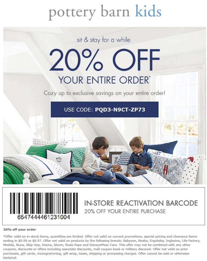 Pottery Barn Kids Coupon December 2018 20% off at Pottery Barn Kids, or online via promo code PQD3-N9CT-ZP73