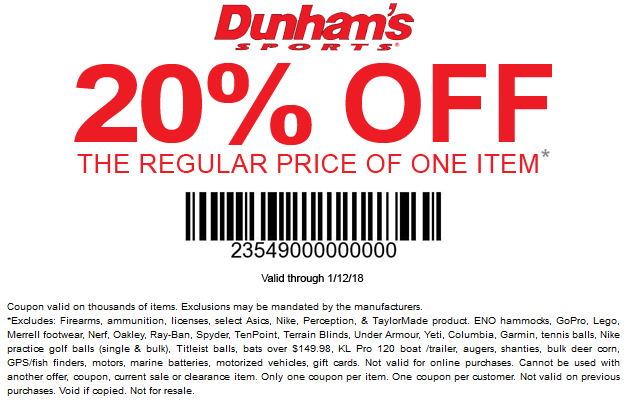 Dunhams Sports Coupon December 2018 20% off a single item at Dunhams Sports