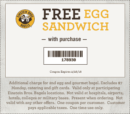 Einstein Bros Bagels Coupon July 2018 Second egg sandwich free at Einstein Bros Bagels