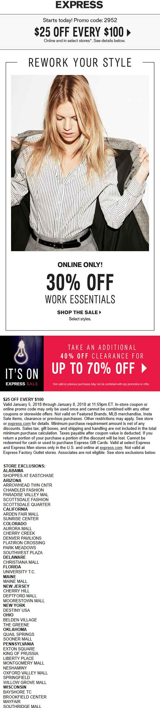 Express.com Promo Coupon $25 off every $100 at Express, or online via promo code 2952