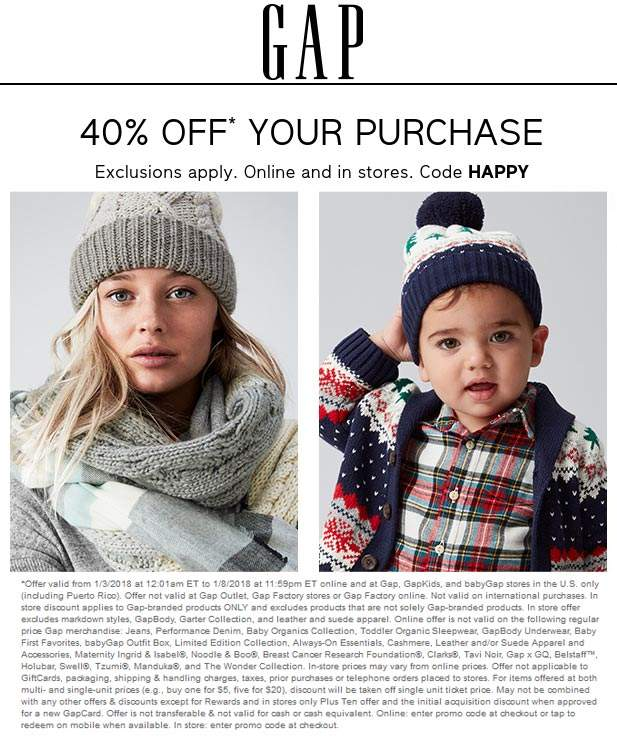 Gap.com Promo Coupon 40% off at Gap, or online via promo code HAPPY