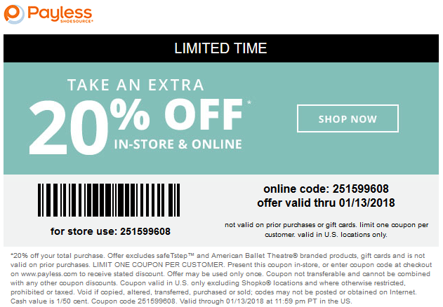 Payless Shoesource Coupon December 2018 Extra 20% off at Payless Shoesource, or online via promo code 251599608