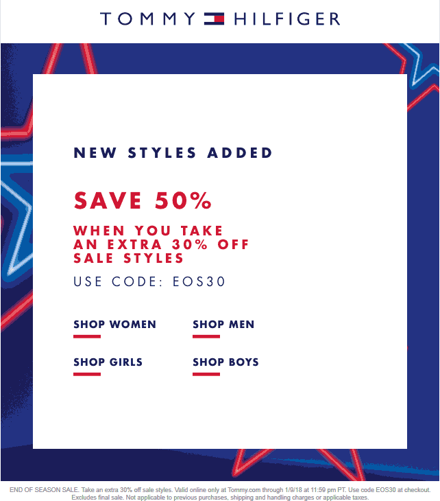 Tommy Hilfiger Coupon August 2018 Extra 30% off sale items online at Tommy Hilfiger via promo code EOS30