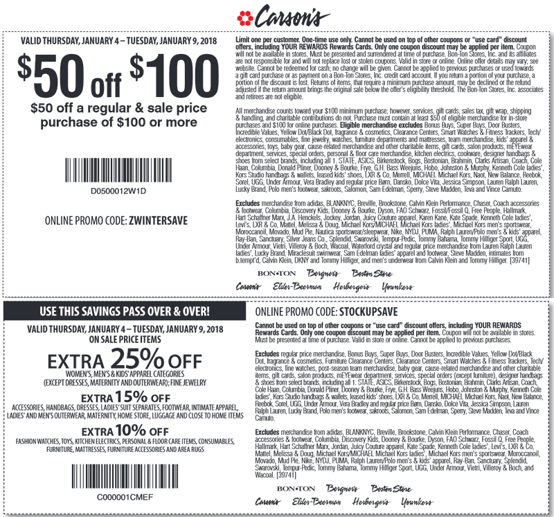 Carsons Coupon December 2018 $50 off $100 & more at Carsons, Bon Ton & sister stores, or online via promo code ZWINTERSAVE
