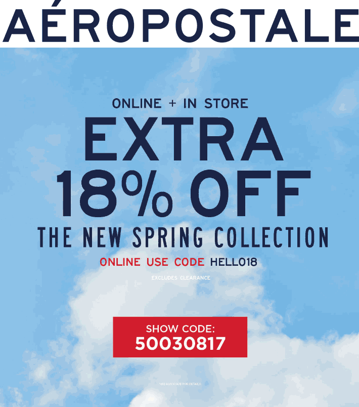 Aeropostale.com Promo Coupon 18% off at Aeropostale, or online via promo code HELLO18
