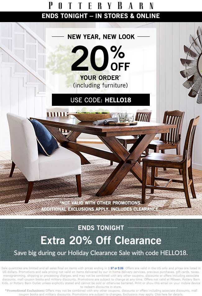 PotteryBarn.com Promo Coupon 20% off today at Pottery Barn, or online via promo code HELLO18