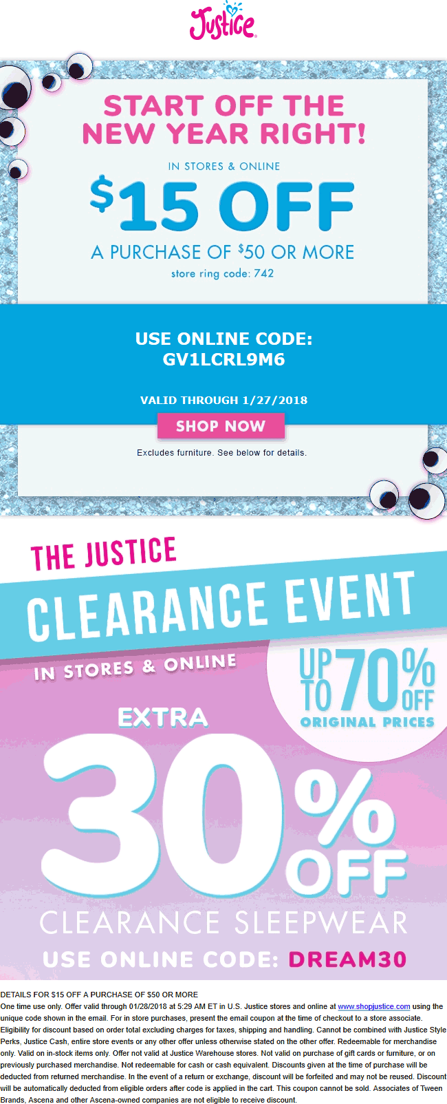 Justice.com Promo Coupon $15 off $50 at Justice, or online via promo code GV1LCRL9M6