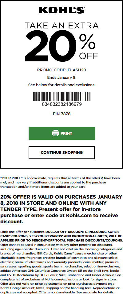 Kohls Coupon March 2019 20% off today at Kohls, or online via promo code FLASH20