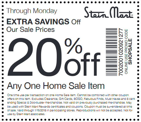 Stein Mart Coupon October 2018 20% off a single home item at Stein Mart, or online via promo code SHOPSALE