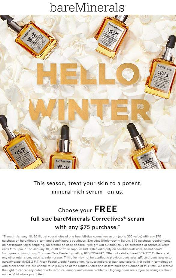 bareMinerals.com Promo Coupon $60 full size serum free with $75 spent at bareMinerals, ditto online