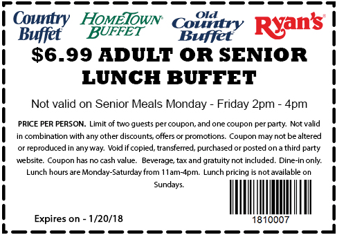 Old Country Buffet Coupon December 2018 $7 lunch at Ryans, HomeTown Buffet & Old Country Buffet