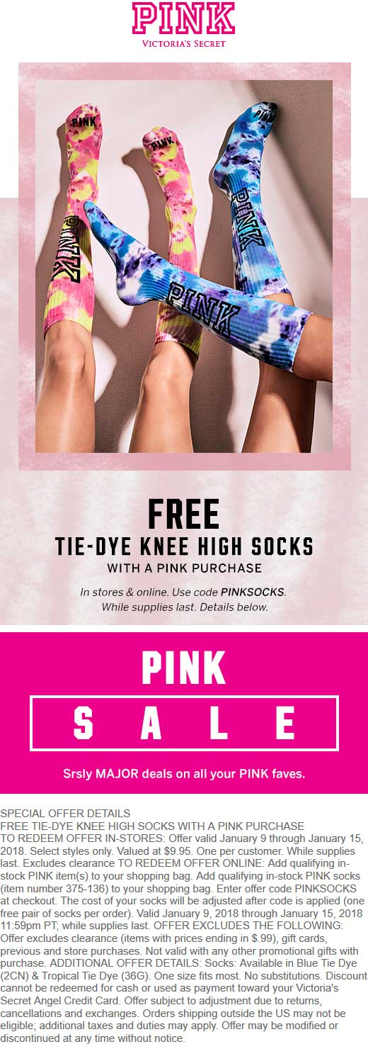 Victorias Secret Coupon October 2018 Free knee high socks with any purchase at Victorias Secret PINK, or online via promo code PINKSOCKS