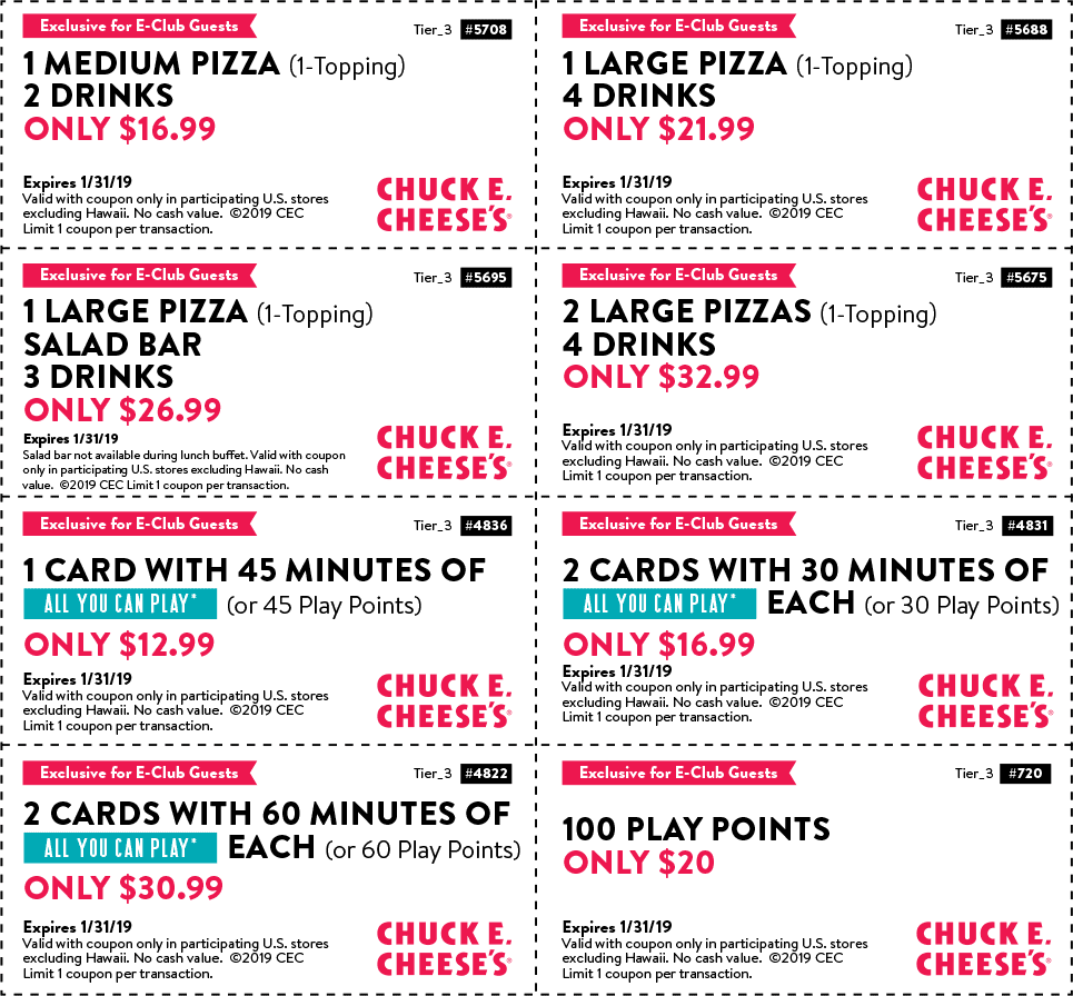Chuck E. Cheese Coupon January 2020 100 play points for $20 & more at Chuck E. Cheese pizza