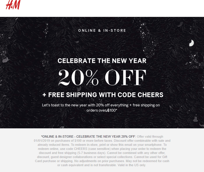 H&M Coupon August 2019 20% off $100 today at H&M, or online via promo code CHEERS