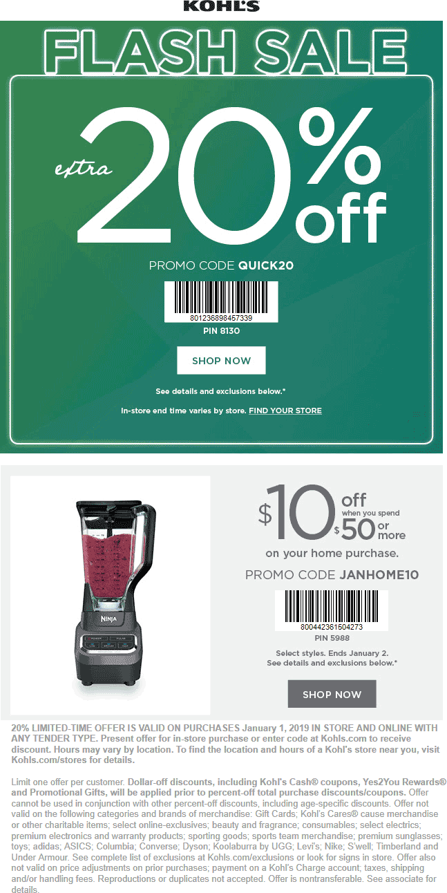 Kohls Coupon October 2019 Extra 20% off & more today at Kohls, or online via promo code QUICK20