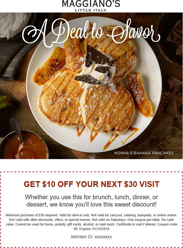 Maggianos Little Italy Coupon July 2019 $10 off $30 at Maggianos Little Italy restaurants