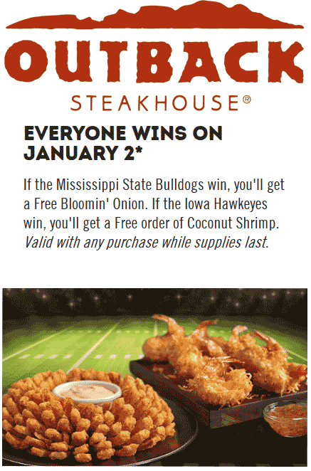 Outback Steakhouse Coupon July 2019 Free coconut shrimp or bloomin onion Wednesday at Outback Steakhouse