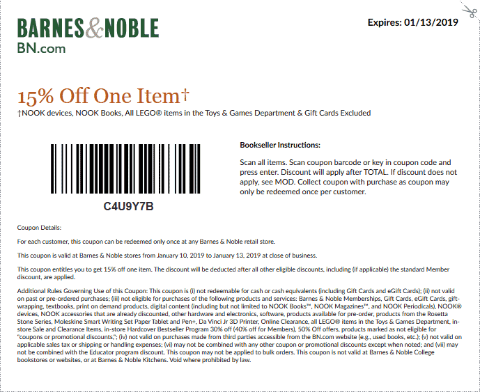 Barnes & Noble Coupon September 2019 15% off a single item at Barnes & Noble, or 10% the total online via promo code JANREADS