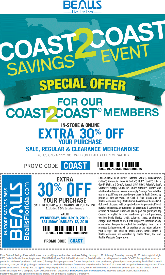 Bealls Coupon March 2019 30% off at Bealls, or online via promo code COAST